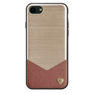 NILLKIN Business Style Lensen Cover for iPhone SE 2 (2020)/8/7 Aluminum Alloy Sheet + PU Leather + PC + TPU Hybrid Case - Gold