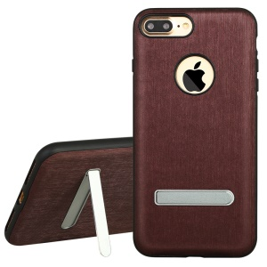 X-LEVEL Elite Series Cover for for iPhone 7 Plus with Kickstand Leather Coated TPU Shell - Wine Red
