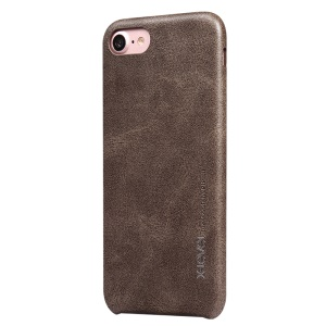 X-LEVEL Vintage Series Leather Coated Hard Shell Case for iPhone SE 2 (2020)/8/7 - Coffee