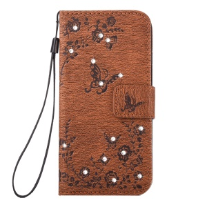 For iPhone 7 Plus Leather Stand Shell with Strap Imprinted Pattern Rhinestone - Brown