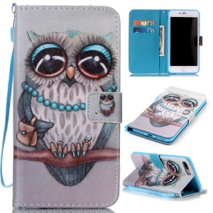 Wallet Leather Stand Cover for iPhone 7 Plus - Lovely Owl