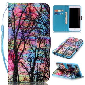 Wallet Leather Magnetic Case for iPhone 7 Plus - Trees Pattern