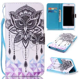 Magnetic Leather Stand Case for iPhone 7 Plus - Owl Pattern
