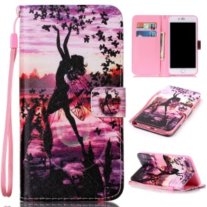 Magnetic Leather Stand Cover for iPhone 7 Plus - Dancing Girl