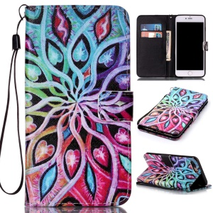 Wallet Leather Protective Case for iPhone 7 Plus - Colorized Pattern