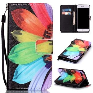 PU Leather Card Holder Case for iPhone 7 Plus - Colorful Flower