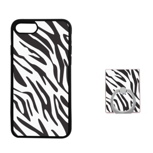 Silk Texture TPU Ring Holder Kickstand Cellphone Cover for iPhone 8/7 4.7 inch - Zebra Pattern