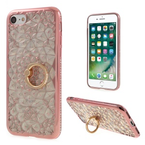 SHENGO 3D Diamond-pattern Crystal Decor TPU Ring Holder Kickstand Case for iPhone 8/7 4.7 - Rose Gold