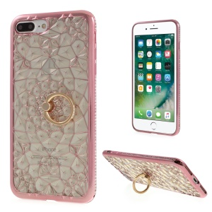 SHENGO 3D Diamond-pattern Crystal Decor TPU Ring Holder Case for iPhone 8 Plus / 7 Plus 5.5 - Rose Gold