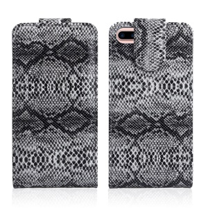 Snake Texture Vertical Flip Leather Mobile Phone Case for iPhone 7 Plus - Grey