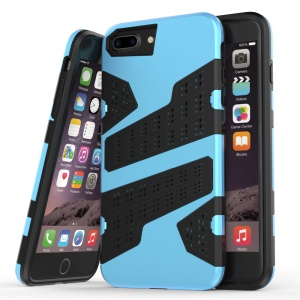 Mesh Holes Armor PC + TPU Combo Cover for iPhone 7 Plus 5.5 inch - Light Blue