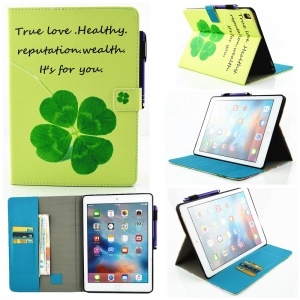 Patterned Wallet Leather Smart Case for iPad Pro 9.7 Inch - Four-leaf Clover and Bless Word