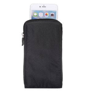 Waterproof Canvas Hook Loop  Zipper Pouch for iPhone 8 Plus / X / 7 Plus / Galaxy Note 8, Phones under 6.4 Inch - Black