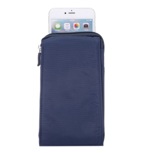 Multifunctional Hook Loop Velcro Zipper Pouch for iPhone 8 Plus / X / 7 Plus / Galaxy Note 8, Phones under 6.4 Inch - Blue