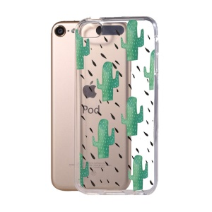 Pattern Printing Clear TPU Gel Case for iPod Touch (2019) / Touch 6 - Cactuses in Rain
