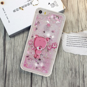 Powder Sequins Quicksand Liquid TPU Patterned Case for iPhone Se / 5S / 5 - Pink / Cute Bear