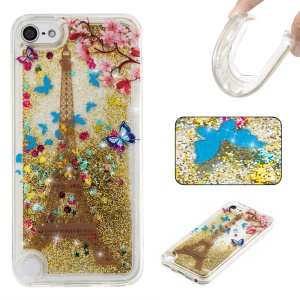 Patterned Quicksand Liquid Glittering TPU Soft Case for iPod Touch (2019) / Touch 6 / Touch 5 - Gold / Eiffel Tower