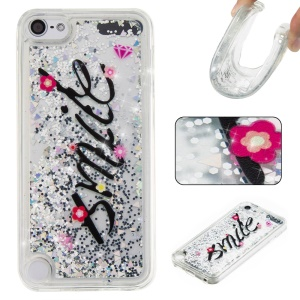 Pattern Printing Glittery TPU Liquid Quicksand Case for iPod Touch 6 / Touch 5 - Black / Smile