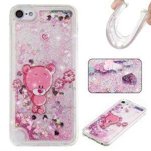Powder Sequins Quicksand Liquid TPU Patterned Case for iPod Touch 6 / Touch 5 - Pink / Cute Bear