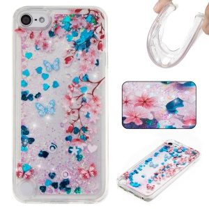 Glittery Liquid TPU Patterned Cover for iPod Touch (2019) / Touch 6 / Touch 5 - Blue / Flowers and Butterflies