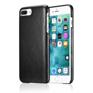 OATSBASF Cowhide Leather Coated Hard Phone Case for iPhone 7 Plus 5.5 inch - Black