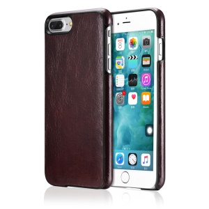 OATSBASF Cowhide Leather Coated Hard Phone Cover Shell for iPhone 7 Plus 5.5 inch - Cherry