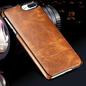 OATSBASF Cowhide Leather Coated Hard Cell Phone Case for iPhone 7 Plus 5.5 inch - Brown