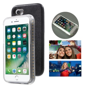 LED Fill-in Light Luminous Selfie PC Hard Case for iPhone 8 / 7 4.7 - Black