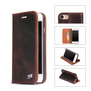 FIERRE SHANN Vintage Genuine Leather Card Slot Case for iPhone 7 4.7 Inch - Coffee