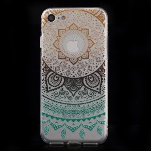 XINCUCO Gradient Lace Pattern TPU Soft Cover for iPhone 8/7 4.7 inch - Black / Cyan