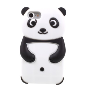 3D Lovely Panda Silicone Case for iPhone 8/7 - Black