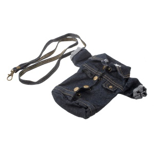 Universal Stylish Denim Jacket Phone Pouch Case for iPhone 7 Plus with Strap - Black