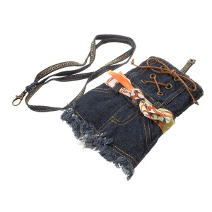 Universal Denim Skirt Phone Pouch Shoulder Bag for iPhone 7 Plus / Samsung S7 - Dark Blue