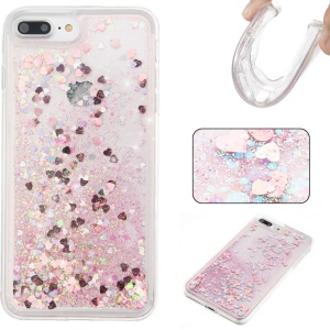 Flowing Liquid Glitter Powder Sequin Quicksand TPU Back Case for iPhone 8 Plus / 7 Plus 5.5 inch - Pink