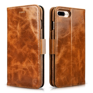 ICARER Oil Wax Genuine Leather Detachable Phone Case for iPhone 7 Plus 5.5 inch - Brown