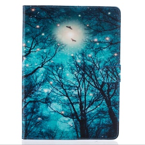 Pattern Printing Leather Wallet Case for iPad Pro 9.7 Inch - Winter Moon Night