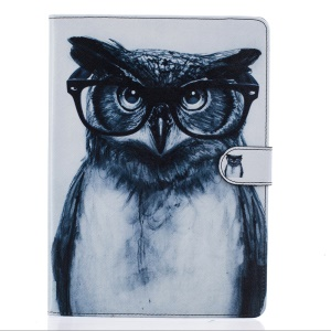 Patterned Leather Card Slots Case for iPad Pro 9.7 Inch - Owl Wearing Glasses