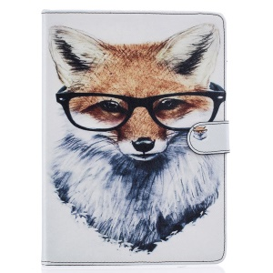 Pattern Printing Flip Leather Cover for iPad Pro 9.7 Inch - Fox Wearing Glasses