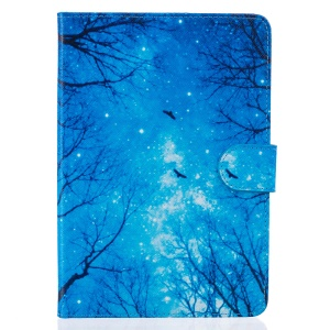 Patterned Leather Wallet Tablet Case for iPad mini 3/2/1 - Trees at Winter Night