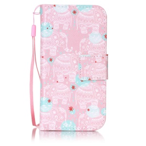 Patterned Leather Wallet Stand Case for iPod Touch 6/5 with Lanyard - Elephant