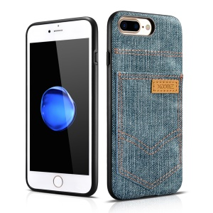 XOOMZ for iPhone 8 Plus / 7 Plus PC Silicone Hybrid Case with Jeans Cloth Leather Coated - Light Blue