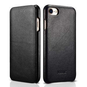 XOOMZ Curved Edge Litchi Grain Genuine Leather Flip Case for iPhone SE (2nd Generation)/8/7 - Black