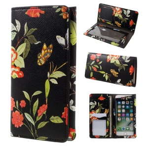 Plant Animal Design Case Soft Leather Wallet Universal Phone Cover for iPhone 7 Plus 5.5 - Black