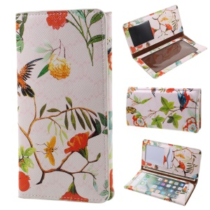 Plant Animal Design Case Soft Leather Wallet Universal Cell Phone Shell for iPhone 7 Plus 5.5 - White / Pink