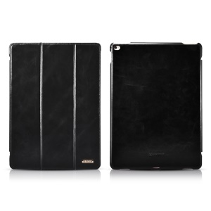 ICARER Vintage Tri-fold Genuine Leather Stand Case for iPad Pro 12.9 Inch - Black