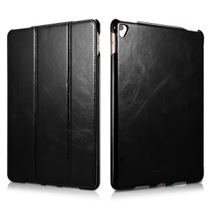 ICARER Retro Tri-fold Genuine Leather Stand Case for iPad Pro 9.7 Inch - Black