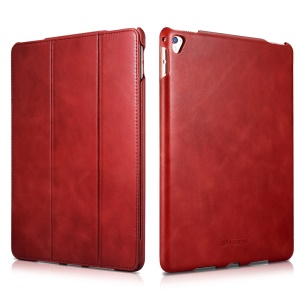 ICARER Retro Tri-fold Genuine Leather Stand Cover for iPad Pro 9.7 Inch - Red
