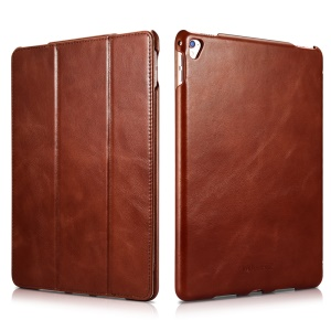 ICARER for iPad Pro 9.7 Inch Retro Tri-fold Genuine Leather Phone Shell - Brown