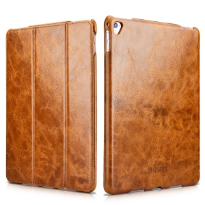 ICARER Oil Wax Retro Genuine Phone Folio Stand Cover for iPad Pro 12.9 Inch - Brown
