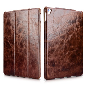 ICARER Tri-fold Auto-absorbed Oil Wax Genuine Leather Stand Case for iPad Pro 9.7 inch - Coffee